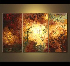 Large Abstract Landscape Painting , Modern Blooming Trees Painting , Original Landscape forest painting on canvas by Osnat - MADE-TO-ORDER Canvas Painting Landscape, Forest Painting, Seascape Paintings, Landscape Art, Painting Trees, Landscape Quilts, Landscape Design, Blooming Trees, Art Design