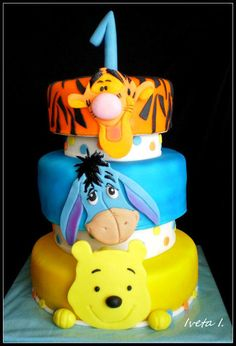 Winnie the Pooh and friends Three Tiers: Bottom = Pooh, Middle = Eyore, Top = Tigger - Cake by Ivule