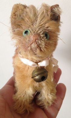 RARE Antique Steiff Miniature Kitten Cat FF Button VERY GOOD/EXCELLENT OVERALL