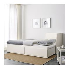 FLEKKE Day-bed frame with 2 drawers, white, Single. A sofa by day and a bed for one – or two – by night. The two large drawers give plenty of space for quilts, pillows and bed linen. Cama Murphy, Murphy Bed Ikea, Large Cushion Covers, Large Cushions, Lit Banquette 2 Places, Day Bed Frame, Sofa Daybed, Cama Ikea, Bedroom Ideas