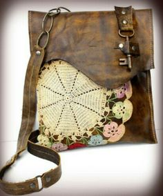 Boho Leather Messenger Bag with Multi-Colored Crochet Doily and Antique Key - Medium - One Of A Kind from urbanheirlooms on Etsy. Crochet Purses, Crochet Doilies, My Bags, Purses And Bags, Leather And Lace, Leather Bag, Estilo Hippie, Antique Keys, Boho Bags