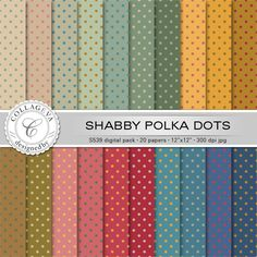 "Shabby polka dots Digital Paper Pack, 20 printable sheets, 12""x12"" INSTANT DOWNLOAD, vintage rainbow set, green ocher beige red blue (S539) by collageva on Etsy"