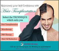 Are you facing hair loss or baldness issue due to which you are hesitated to face the public?? Rejuvenate your self confidence. Choose the technique which suits you from variety of options. Call us on 9711374342 or visit www.centreforskin.com for more information. ‪#‎hair‬ ‪#‎baldness‬ ‪#‎hairtransplantation‬ ‪#‎drgauravnakra‬ ‪#‎centreforskin‬