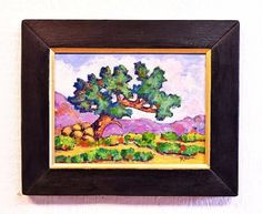 Tree with Rocks scenic landscape painting with reclaimed wood frame by Robert Price www.robertpricegallery.etsy.com