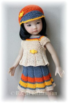 """OOAK Hand Knit Outfit """"I Play Golf"""" Effner Little Darling 13"""" Kish 14""""Doll"""