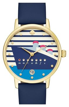 Too cute! A luxurious ocean liner steams across the striped dial of a globe-trotting round watch from Kate Spade. It's detailed with a date window and playful porthole-shaped day indicators that fill in pink as the week progresses.