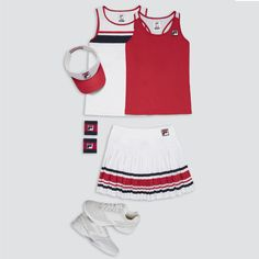 Back to basics: Karolina Pliskova's Fila Heritage collection for Australian Open 2018 Tennis Wear, Tennis Dress, Tennis Clothes, Fila Outfit, Cute Golf Outfit, Nautical Outfits, Tennis Fashion, Sport Outfits, Tennis Outfits