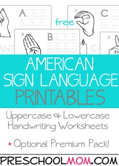 Our ASL alphabet printables include handwriting practice, coloring areas and asl hand sign representations. We have a premium ASL eBook in our curriculum store that includes lowercase letters, file folder games, full color photo hand Simple Sign Language, Sign Language Chart, Sign Language For Kids, Sign Language Phrases, Sign Language Alphabet, Learn Sign Language, Sign Language Interpreter, British Sign Language, Sign Language Games