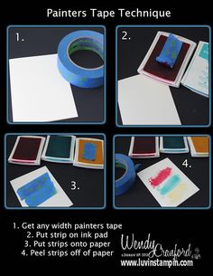 Printable step by step tutorial for painters tape technique.  Fun technique using ink.  http://www.luvinstampin.com/2013/09/painters-tape-technique.html