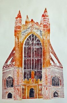 Collagraph of Bath Abbey by Jackie Curtis An innovative printmaker living in Somerset, drawing much of her inspiration from the evocative Levels Collagraph Printmaking, Printmaking Ideas, National Art, England, A Level Art, Gravure, Print Artist, Art Lessons, Art Projects