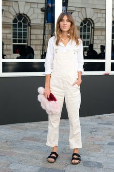 Alexa Chung in overalls and Birkenstocks at #LFW