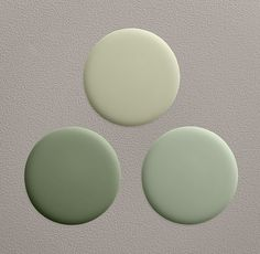 Restoration Hardware Bay Laurel Paint Collection. Clockwise from Top: Sycamore Green; Bay Laurel; Spanish moss