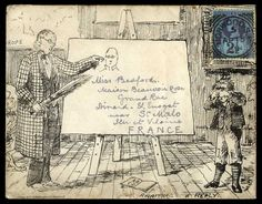 1889 (April 15th) unusual printed envelope the picture entitled 'AWAITING A REPLY' depicting a teacher pointing at a sketch of himself on an easel, holding a birch in his other hand and with a pupil crying (evidently not looking forward to the beating he was about to receive or had just received!) sent from Norwood to St. Malo with 1887–92 21/2d.,