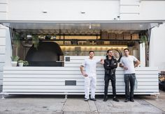 Rosebery's pizza masters are doing great things inside a shipping container. Pizza Food Truck, Vegan Food Truck, Container Shop, Container Design, Coffee Truck, Coffee Carts, Pizza Restaurant, Restaurant Design, Lighthouse Cafe