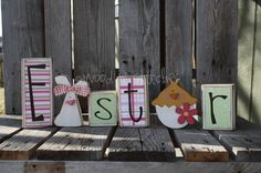 Easter wood blocks - Etsy #easter #spring #crafty