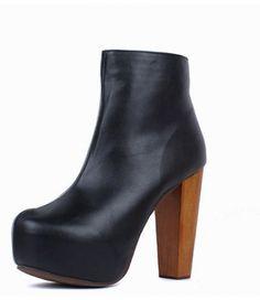 #Black #Leather #Round #Toe #Wood #Heel #Platform #Boots £37.99 @ ShanghaiTrends.co.uk