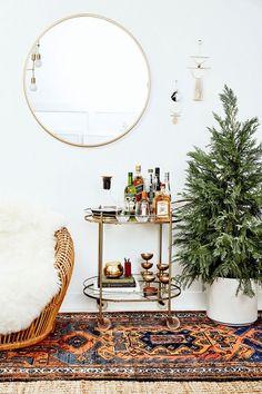 Holiday Greens + A brass bar cart