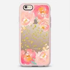Watercolor Floral Gold Confetti - New Standard Case in Pink Gray & Clear by Jande Laulu | @casetify