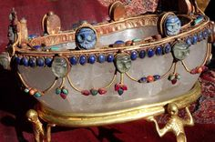 Tibetan rock crystal skull cup with gemstones. pre 1950