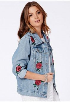 Cute take on the trend. Light wash jean jacket featuring cabbage rose embroidery in an open pattern. Style Planet | | Missguided - Caresa Rose Embroidered Denim Jacket
