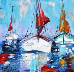 Original Sunbathing Harbor Boats modern palette knife by Karensfineart