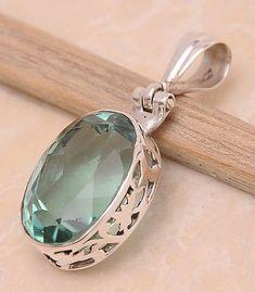 7e5c451e35e7 Green Quartz .925 Sterling Silver Jewelry Pendant 1.4
