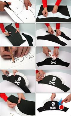 DIY Tutorial DIY Halloween / 4 easy DIY Halloween hat crafts for kids to complete their costume - Bead&Cord Pirate Day, Pirate Birthday, Pirate Theme, Birthday Diy, Birthday Parties, Pirate Hat Crafts, Pirate Activities, Art Activities, Kids Crafts