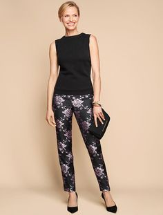 Rose Jacquard Ankle Pant - Talbots - thinking about these pants and top for daughter wedding rehersal dinner - just enough dress up but also maybe wear again for other events