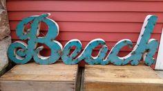 small BEACH sign retro recycled tin painted aqua  —