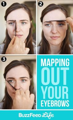 Gorgeous makeup for less effort. Mapping out your eyebrows Straight Eyebrows, Filling In Eyebrows, Tweezing Eyebrows, Threading Eyebrows, Eye Brows, Eyebrow Filling, Face Threading, Microblading Eyebrows, Fashionable Outfits