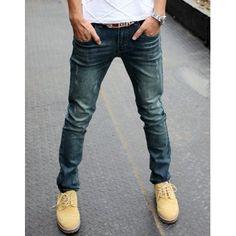 $26.64 Slimming Trendy Cat's Whisker Design Ribbon Splicing Pocket Hemming Straight Leg Jeans For Men