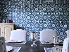 Stenciled Dining Room Accent Wall with Snowflake Metallic Paint by Modern Masters | Project by C'Mon Get Crafty