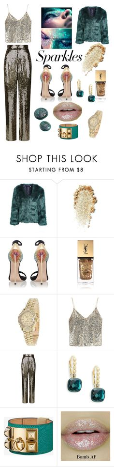 """""""#PolyPresents: Sparkly Beauty"""" by janenicola ❤ liked on Polyvore featuring beauty, Casadei, Yves Saint Laurent, Rolex, Alice + Olivia, Michael Aram, contestentry and polyPresents"""