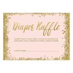 Blush Pink Gold Glitter Diaper Raffle Ticket Large Business Card