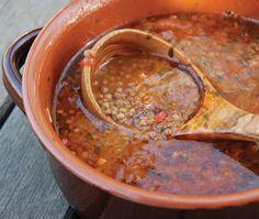 David Rocco's Tomato Lentil Soup Recipe. Pretty tasty - was delish with Parm Romano sprinkled over it :)