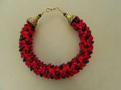 Red and Black Magatama Kumihimo Bracelet by whitecloverstudios, $35.00