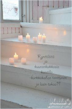Elämää villa honkasalossa Romantic Lights, Beautiful Lights, Candle Lighting, Candle Lanterns, Fire Basket, All Of The Lights, Light Garland, Let Your Light Shine, Candels