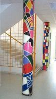 Columnas decoradas por los alumnos del