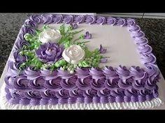 Colorindo Chantilly e Decorando Bolo de Rosas com Bico 1M - YouTube Cake Decorating Piping, Creative Cake Decorating, Birthday Cake Decorating, Cake Decorating Techniques, Birthday Sheet Cakes, Homemade Birthday Cakes, Birthday Cakes For Women, Bolo Tinker Bell, Pastel Rectangular