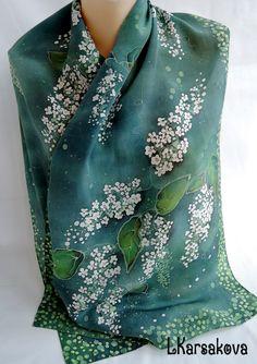 Купить батик шарф Белая черемуха - комбинированный, цветочный, черемуха, зеленый цвет, белые цветы