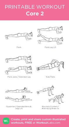 Core 2:my visual workout created at WorkoutLabs.com • Click through to customize and download as a FREE PDF! #customworkout