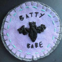 BATTY BABE 2.5 felt patch by HobgoblinCrafts on Etsy