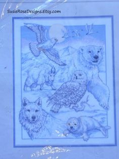"North American Beauties, A Counted Cross Stitch Kit of Animals Seal in Original Plastic 11""x 14"" BEAUTIFUL!"