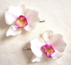 Orchid Hair Pins. $8.00, via Etsy.