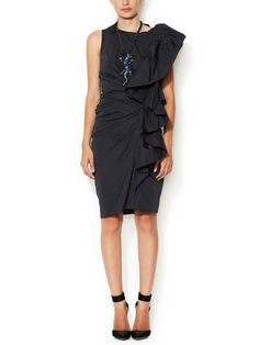 Ruched Ruffle Sheath Dress - Lanvin