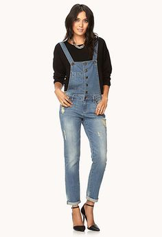 Life In Progress™ Distressed Overalls | FOREVER21 - 2000127980