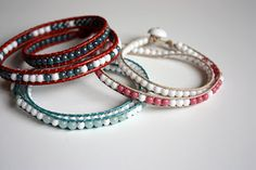 Beaded wrap bracelets! I gotta make some of these soon, or I'm going to go crazy! I love them!