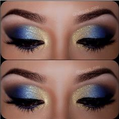 12 Gorgeous Blue and Gold Eye Makeup Looks and Tutorials