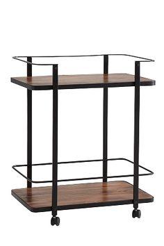 Tarjoiluvaunu sopii moneen tarkoitukseen – tarjoiluun, sivupöydäksi, säilytyspaikaksi tai laskutasoksi keittiöön tai kylpyhuoneeseen.  Kaksi hyllytasoa. Runko metallia, hyllytasot  puuta ja pyörät muovia. Koko 66x45 cm. Korkeus 80 cm. Hyllytasojen välinen etäisyys 58 cm. Toimitetaan osina. <br><br>