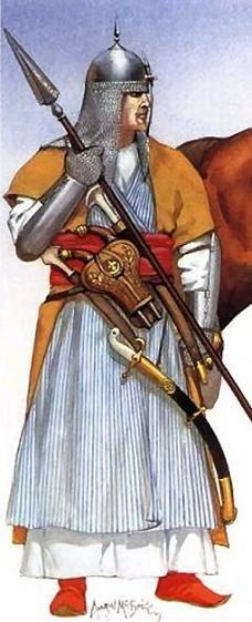 From left to right: Mamluk officer in full armour; Child sword-bearer; Mamluk senior officer; Mamluk cavalryman.